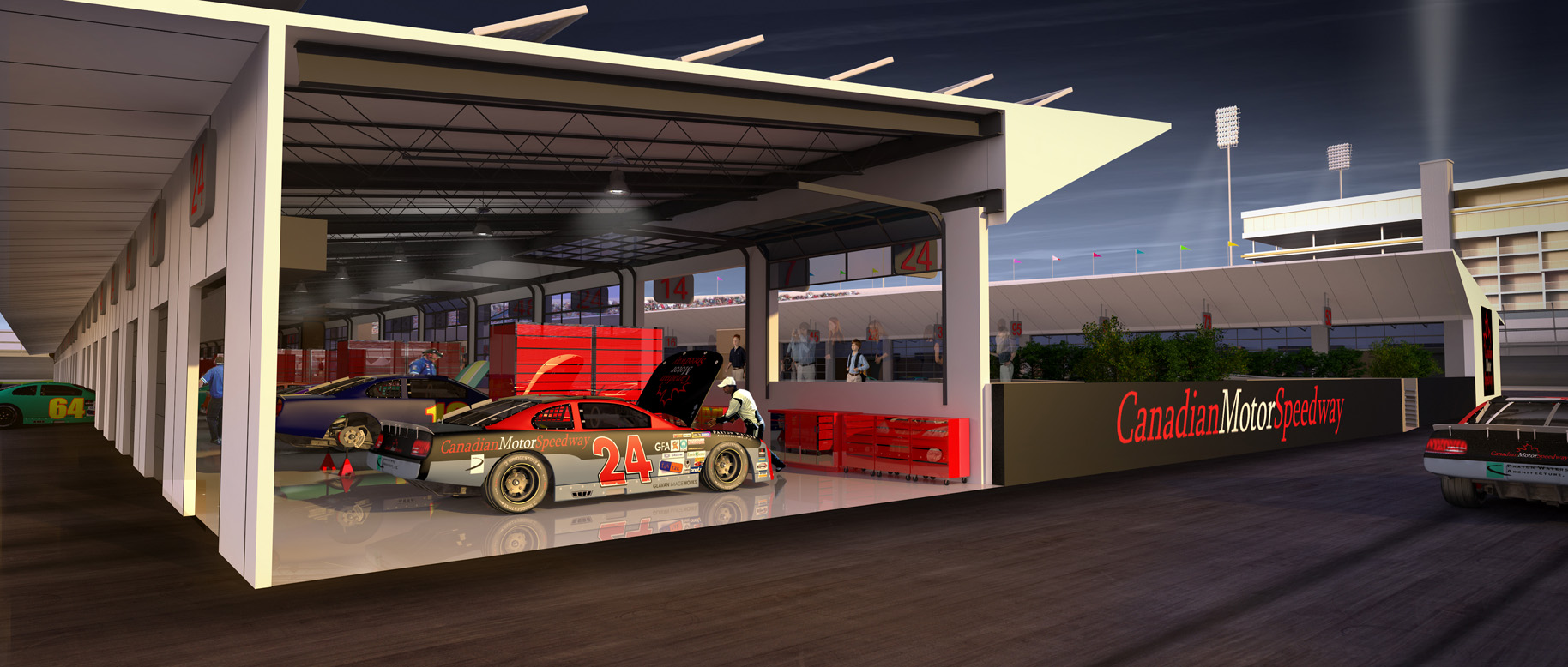 Render of race garage