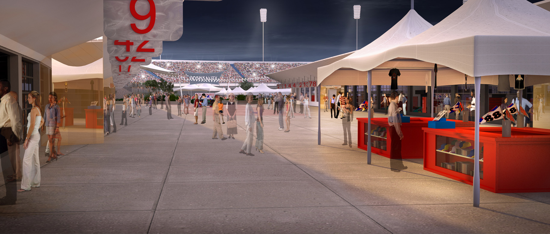 Render of concessions and stands